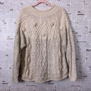 THE LIMITED Hand Knit Neutral Duo Pom Pom Sweater